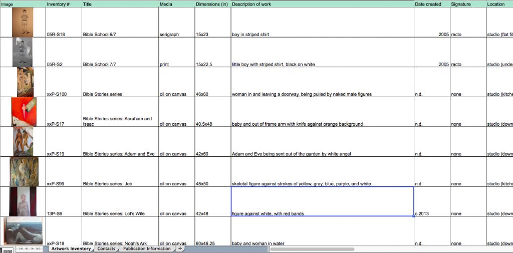 Screenshot of inventory portion